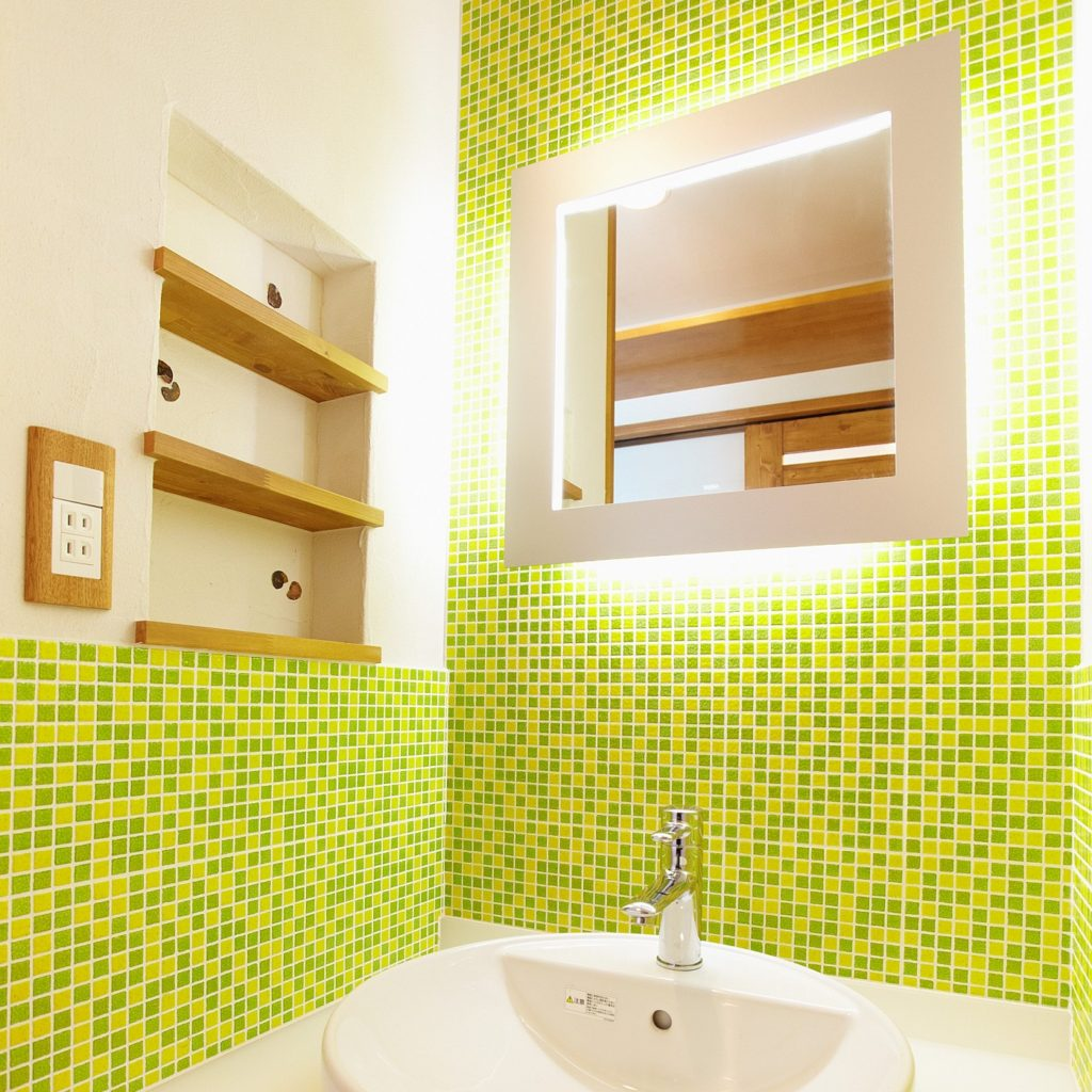 Green tile wash basin